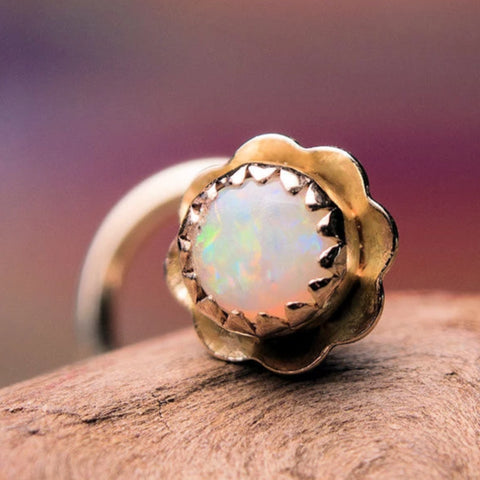 Opal in Gold Nose Stud - 14K Solid Yellow Gold with Natural Opal