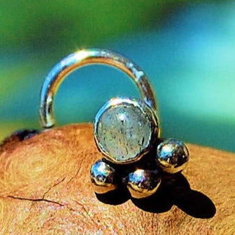 bold sterling silver nose stud with labradorite gemstone