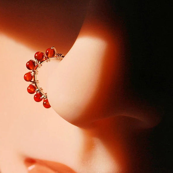Beaded Silver Carnelian Nose Ring