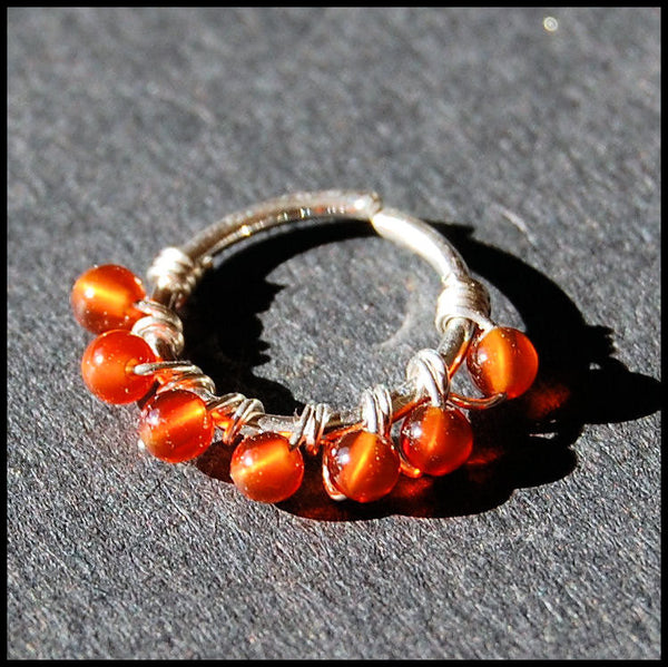 Beaded Silver Nose Ring Wrapped with Carnelian
