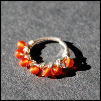 sterling and carnelian nose hoop