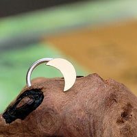 14k yellow gold nose jewelry with crescent moon