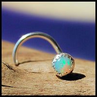 nickel-free silver nose stud with opal gemstone