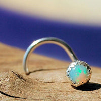 sterling silver and opal nose stud