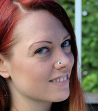 sterling silver nose stud with turquoise gemstone