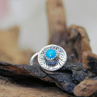 turquoise nose stud with antiqued sterling silver