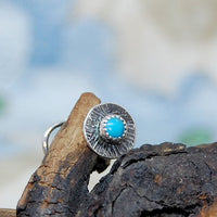 turquoise and antiqued sterling silver nose stud