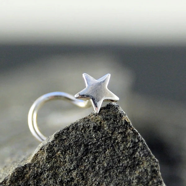 dainty star sterling silver nose stud