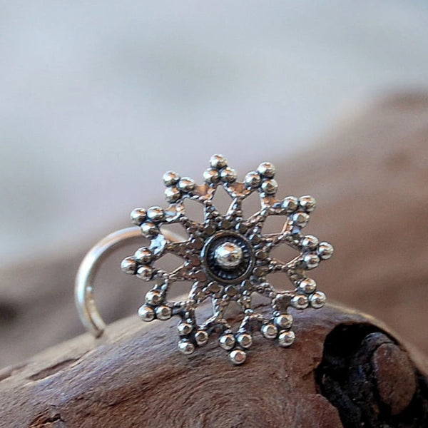 silver snowflake nose stud