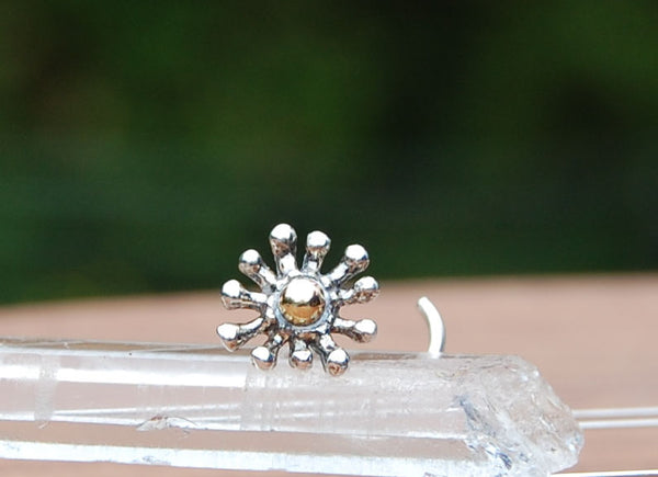 Silver and Gold Splash Nose Stud