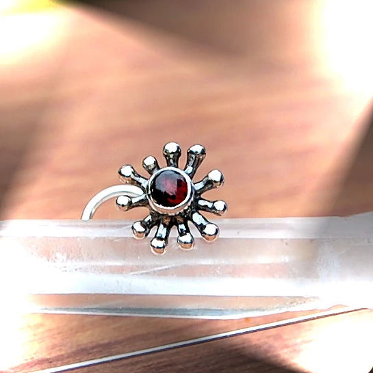 Bold Splash Silver and Garnet Nose Stud