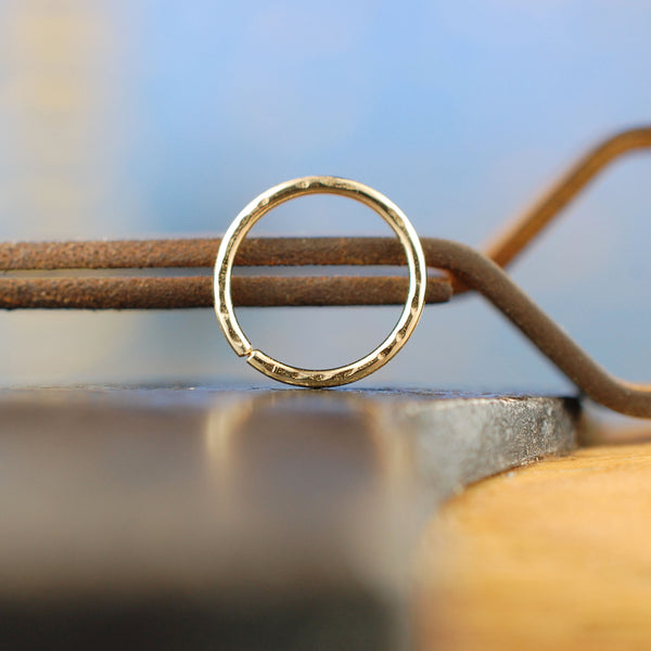 solid 14 karat yellow gold nose ring