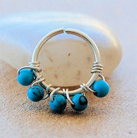turquoise wrapped sterling silver nose nath