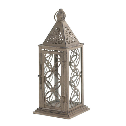 Antique Finish Lantern With Intricate Cutout Patterns