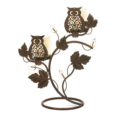 Adorable Wise Owl Duo Votive Iron Candle Stand
