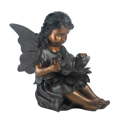 Charming Fairy Garden Statue Burnished Bronze Finish