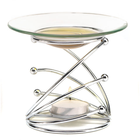 Fascinating Swirls Modern Art Oil Warmer Sleek Glass Dish