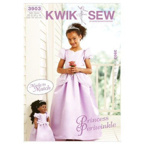 Kwik Sew K3903 Princess Periwinkle Girls and Doll Made to Match Dresses Sewing