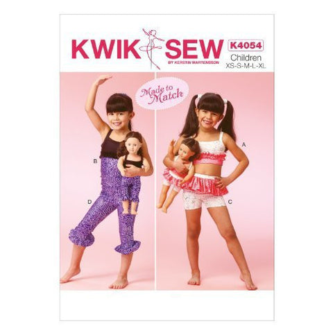 KWIK-SEW K4054 Sewing PATTERN  Girls'/Dolls' Tops, Shorts and Leggings, All Sizes