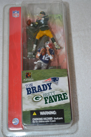 "2004 McFarlane Brett Favre Packers and Tom Brady Patriots 3"" Action Figures NIP"