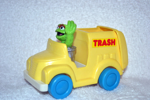 Jim Henson Sesame Street Oscar the Grouch in Rolling Trash Truck by Illco