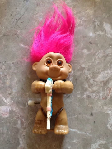 "1992 REMCO Russ Hot Pink Hair Troll 3"" Wind-up Pogo Horsey Stick Super Cute"