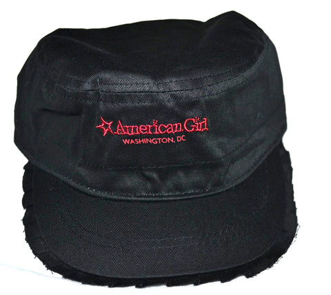American Girl Place Black Ruffle Brim  Cap Hat for Girls Red Embrodiery