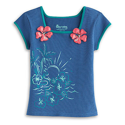 American Girl Bitty Baby Blue Tropical Top for Girls Sizse 3 or Size 4
