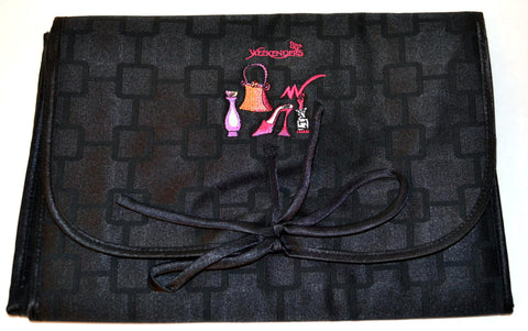 Weekenders Black Embrodieried Lingerie Travel Bag Lavender Lined
