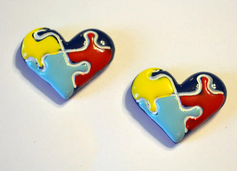 Autism Puzzle Heart Awareness Resin Cabochons Flat Back (Set of 2)