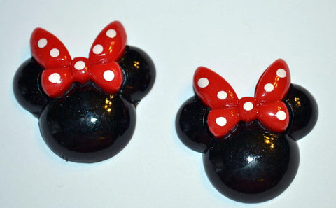 Black Mouse Ears Red Bow White Polka Dot Bow Resin Cabochons Flat Back Scrapbooking and Craft Supplies