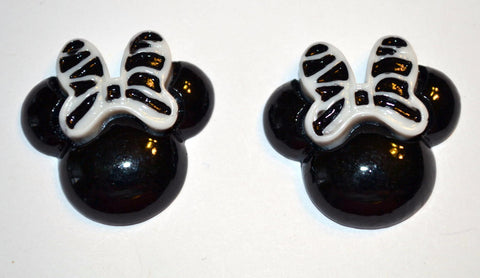 Black Mouse Ears White Zebra Print Bow Resin Cabochons Flat Back Scrapbooking and Craft Supplies
