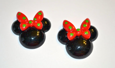 Black Mouse Ears Red Bow Green Polka Dot Bow Resin Cabochons Flat Back Scrapbooking and Craft Supplies