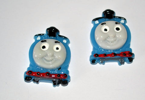 Blue Train Engine Thomas Inspired Resin Cabochons Flat Back Scrapbooking and Craft Supplies