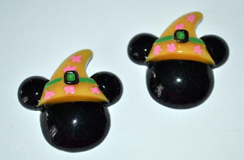 Black Mouse Ears Witch Pilgrim Hat Resin Cabochons Flat Back Scrapbooking and Craft Supplies