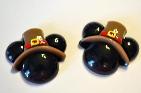 Black Mouse Ears Thanksgiving Pilgram Hat Resin Cabochons Flat Back Scrapbooking and Craft Supplies