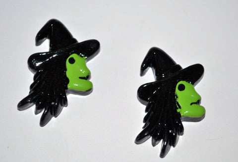 Green Wicked Witch Green Face Flatback Resin Cabochon Scrapbooks