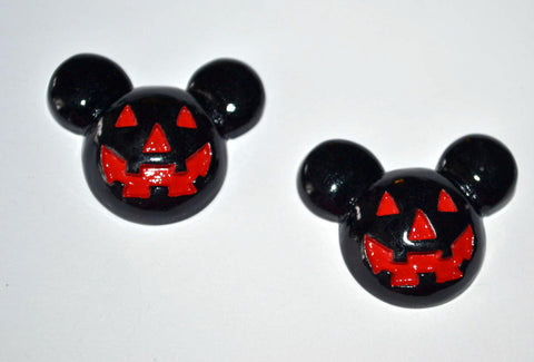 Black Mouse Ears Scary Pumpkin Resin Cabochons Flat Back Scrapbooking and Craft Supplies