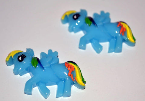 Blue Little Pony Horse Rainbow Tail Resin Cabochons Flat Back Scrapbooking and Craft Supplies