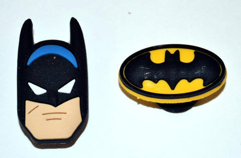Batman Comic Book Super Hero Image with Emblem Logo 2pc Shoe Charm Set