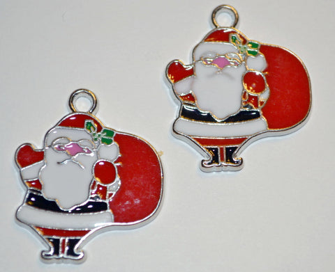Enamel Christmas Red Santa Claus with Loop Set of 2 Craft Supplies