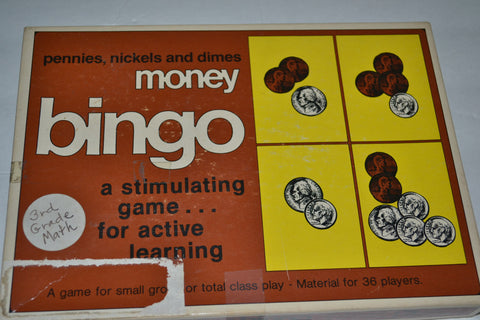 Vintage 1977 Money Bingo Pennies, Nickels and Direms Learning Game