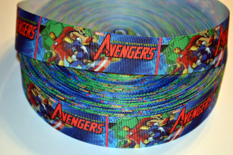 "Avengers Inspired 3 yards 1"" Gross Grain Ribbon for Hair Bows Crafts Scrapbook"
