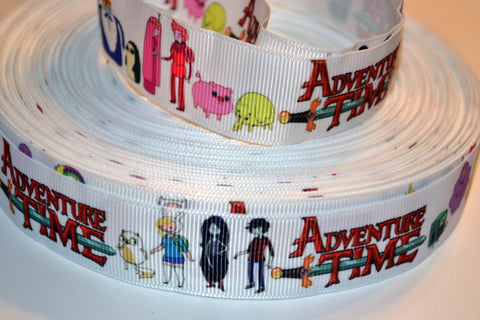 "Adventure Time Inspired 3 yards 1"" Gross Grain Ribbon for Hair Bows Crafts Scrapbook"