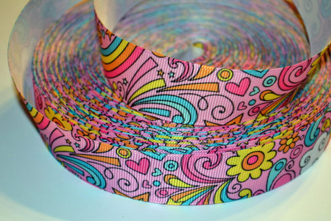 "Groovy Pink Splash 3 yards 1"" Gross Grain Ribbon for Hair Bows Crafts Scrapbook"