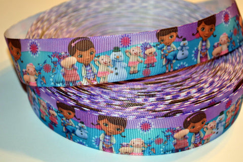 "Doc McStuffins Inspired 3 yards 1"" Gross Grain Ribbon for Hair Bows Crafts Scrapbook"