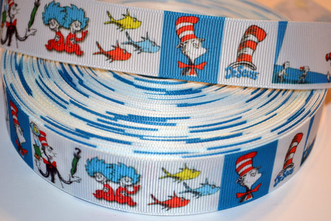 "Dr Seuss Cat in the Hat Inspired 3 yards 1"" Gross Grain Ribbon for Hair Bows Crafts Scrapbook"