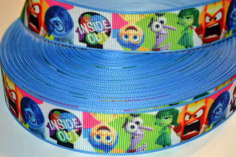 "Inside Out Movie Inspired 3 yards 1"" Gross Grain Ribbon for Hair Bows Crafts Scrapbook"