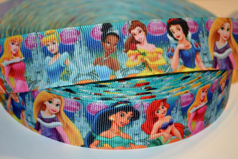 "Disney Princess Inspired 3 yards 1"" Gross Grain Ribbon for Hair Bows Crafts Scrapbook"