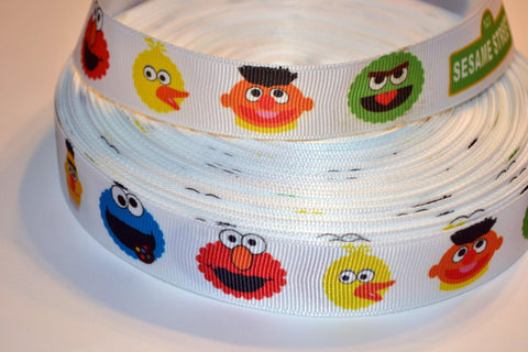 "Sesame Street Inspired 3 yards 7/8"" Gross Grain Ribbon for Hair Bows Crafts Scrapbook"